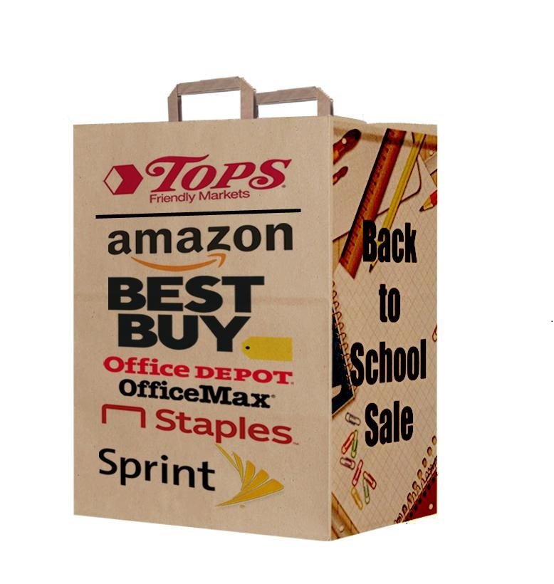 A brown promotional paper bag, printed with different logos and brand names.